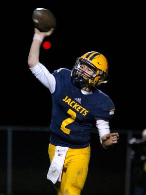 Ithaca quarterback Joey Bentley has thrown for 1,910 yards and 20 touchdowns  and rushed for 998 yards and 18 scores this fall for the 11-0 Yellowjackets.