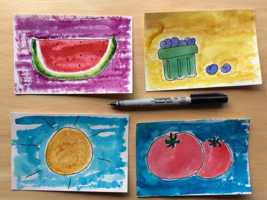 Outline your watercolor postcards with black ink to give it a finished look.