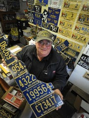 Snookie Vent collects license plates.  Lots of them.  All shapes, colors, styles and material.  He estimates he has 3,000 to 4,000 Delaware plates dating back to 1909.