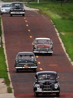 A brick stretch of the old Route 66 near Auburn was laid by hand and completed in 1931.