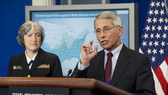 Saul Loeb, AFP/Getty Images The CDC?s Anne Schuchat and Anthony Fauci of the National Institute of Allergy and Infectious Diseases discuss Zika risk. Dr. Anne Schuchat, principal deputy director of the Centers for Disease Control and Prevention, and Dr. Anthony Fauci, director of the National Institute of Allergy and Infectious Diseases, speak about the Zika virus during a press briefing in the Brady Press Briefing Room at the White House on April 11, 2016.