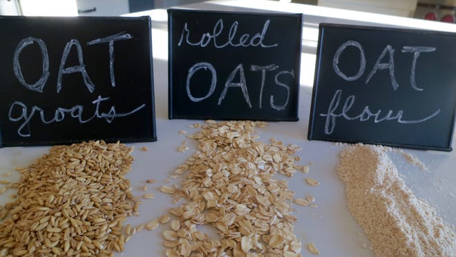 Different forms of oats include whole oat groats (from left), rolled oats, and oat flour.