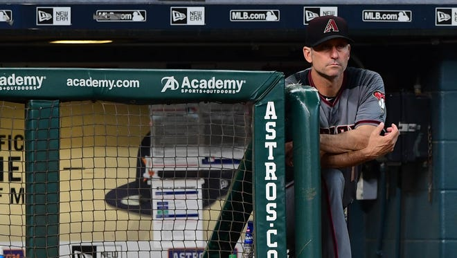 Aug 17, 2017: Arizona Diamondbacks manager Torey Lovullo (17) looks on during the third inning against the Houston Astros at Minute Maid Park.