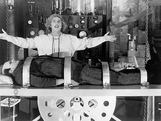 "When Mel Brooks made ""Young Frankenstein"" in 1974, he made sure to use Strickfaden's classic equipment in his lab scenes. Gene Wilder and Peter Boyle."