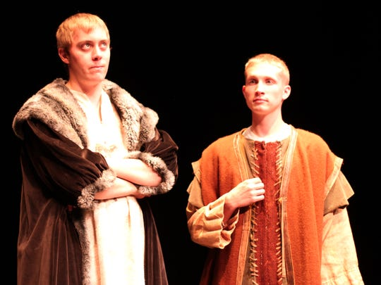 """Dylan Newman, left, of Shawano, will play Richard the Lionheart and Timothy Helm of Merrill will play John, Henry II's favorite son in UWMC's upcoming play """"The Lion in the Winter,"""" which opens Thursday."""