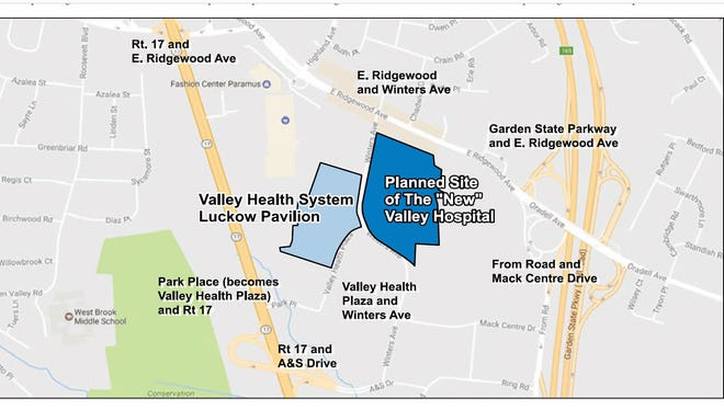 This map shows the location of the proposed new Valley Hospital in Paramus. It will be accessible from Route 17, From Road, A&S Drive, East Ridgewood Avenue, Park Place and the Garden State Parkway.