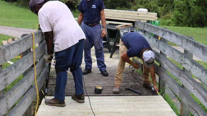 City of Jacksonville Facilities Maintenance was recently at Sturgeon City Park fixing boards and rails on the pedestrian pathways. The boardwalk suffered damage due to the past hurricanes.