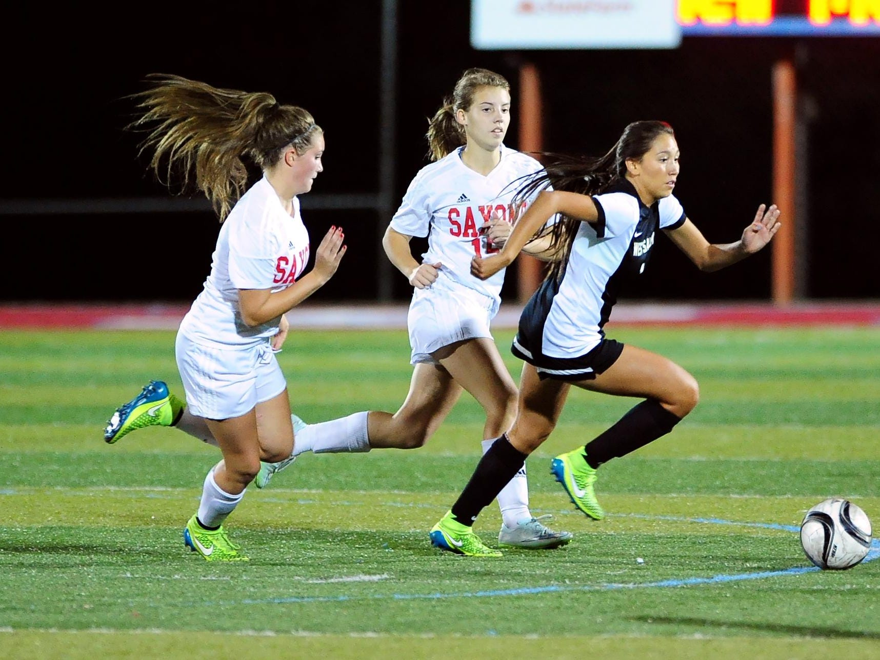 West Salem midfielder Liz Mendez (1) controls the ball against South Salem during a Greater Valley Conference game, Wednesday, Oct. 6, 2015, in Salem, Ore.