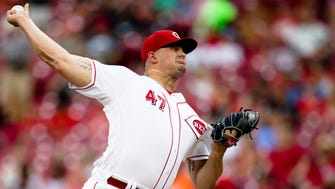 Cincinnati Reds starting pitcher Sal Romano (47) throws a pitch in the first inning of the Major League Baseball game between Cincinnati Reds and Detroit Tigers on Tuesday, June 19, 2018, at Great American Ball Park in Cincinnati.