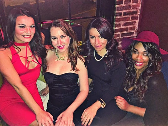 Valentine Mingle with Mads Madelaine Goebel hosted an evening of great cocktails and conversation at  Haynie's Corner Arts District Bar, Fidel's Bourbon Bar and Cigar Lounge. She's pictured here with friends Almeta Rodgers, Bianca Garcia and Kana Brown .