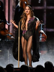 Maren Morris performs during the 59th Annual Grammy Awards at Staples Center.
