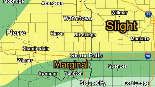 Chances of severe weather in southeast South Dakota on Thursday afternoon.