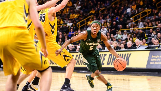 MSU point guard Cassius Winston sat much of the second half Tuesday night at Iowa.