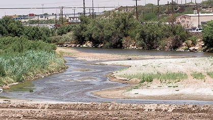 The Rio Grande meanders near West Paisano Drive and Executive Center Boulevard.
