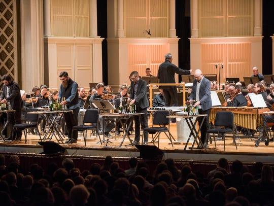 """So Percussion performing """"man made"""" by David Lang,"""