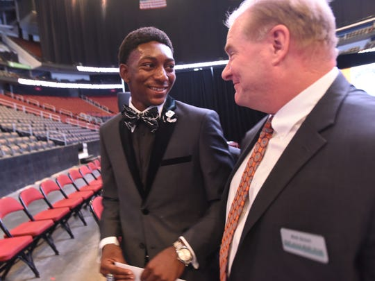 Dayvon Robinson of Kennedy enjoying the moment at Prudential Center, when he was named a winner of the Charlie McGill Scholarship Award on Wednesday, June 14, 2017. Robinson is with NorthJersey.com and The Record editor Rick Green.