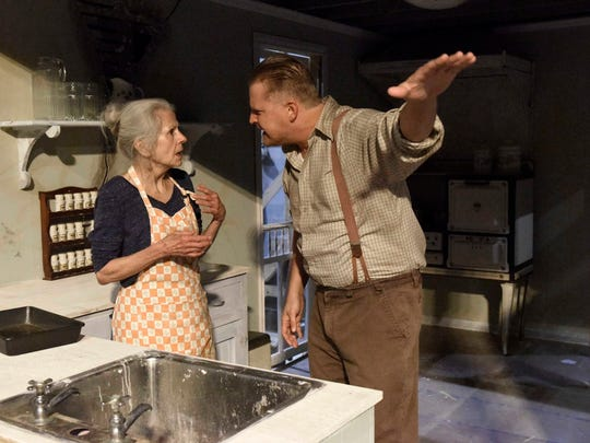 "Brian Landis Folkins as Archie Lee Meighan and Ouida White as Aunt Rose Comfort rehearse a scene in ""Baby Doll,"" an adaptation of the Tennessee Williams play. New Stage Theatre in Jackson will present the play starting tonight under the direction of Rus Blackwell."