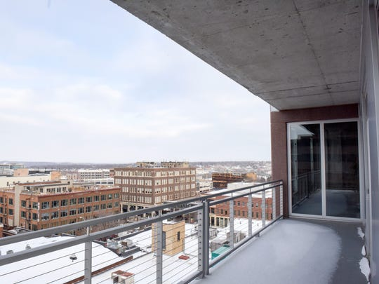 The terrace of an unfinished condo in the Washington