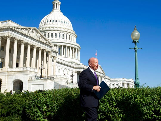 House Ways & Means Chairman Rep. Kevin Brady, R-Texas, arrives for a news conference with the National Taxpayers Union and the Taxpayers Protection Alliance on Capitol Hill in Washington, Thursday, Sept. 28, 2017.