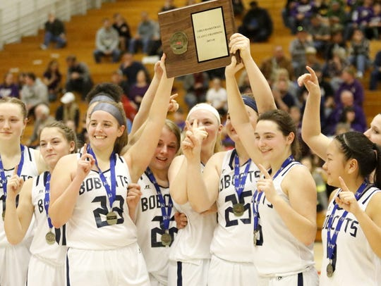 Bainbridge-Guilford players celebrate their win over