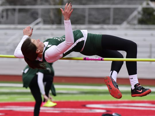 Peyton Bloomer won the high jump at the SBC meet.