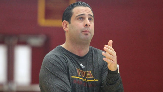 Iona College men's basketball associate head coach Jared Grasso during a practice at the college Nov. 11, 2015.
