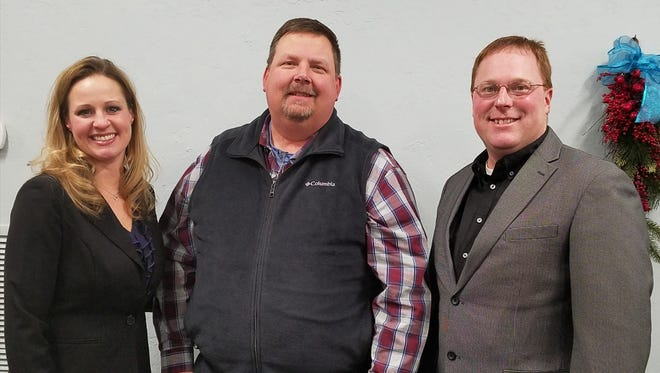 The 2017 Fond du Lac County Holstein Association Service Award was presented to Kevin Jorgensen. Pictured are, from left: presenter Amy Ryan; Service Award Recipient Jorgensen; and presenter Chad Ryan.