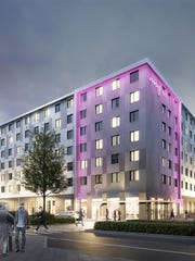 A rendering of what a Moxy Hotel could look like inside