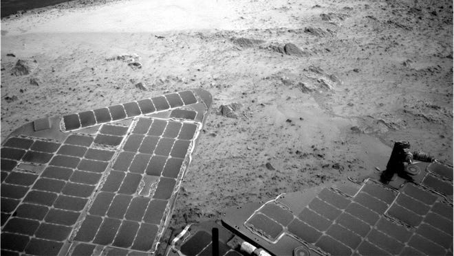 This image sent by NASA's Opportunity rover in January shows a view from atop a Martian hill. At SAE, one of the drivers of the Mars Rover at NASA will talk about operating a vehicle from millions of miles away.