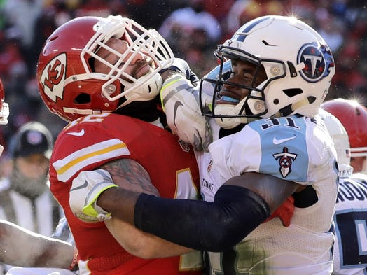 Titans safety Kevin Byard (31) hits Chiefs running