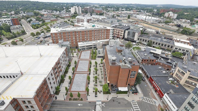 A view from the roof of One Chestnut Place looking at Quincy Center. Greg Derr/The Patriot Ledger