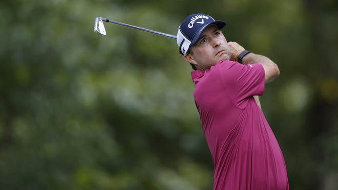 Aug 27, 2020; Olympia Fields, Illinois, USA; Kevin Kisner hits his tee shot on the 16th hole during the first round of the BMW Championship golf tournament at Olympia Fields Country Club - North. Mandatory Credit: Brian Spurlock-USA TODAY Sports