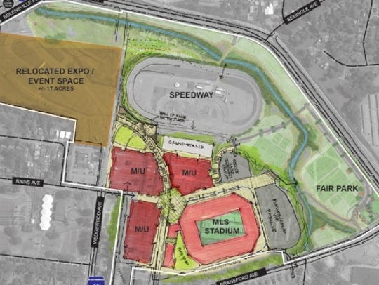 Nashville's overhauled master plan for the MLS stadium project at the fairgrounds.