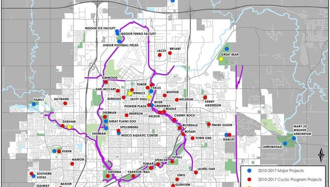 This map shows which Sioux Falls parks have or will have upgrades since Mayor Mike Huether took office.