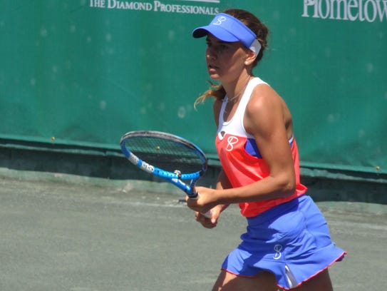 Irina Maria Bara during her semifinals match against