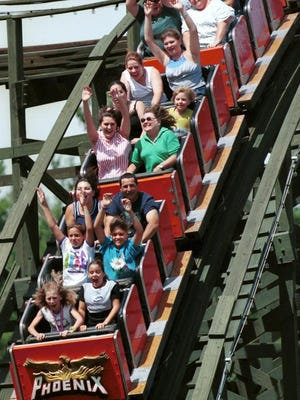 """Ride the Phoenix at America's largest free admission amusement park: Knoebels in Elysburg, Pa. The Phoenix is constantly rated one of the best roller coasters in the world, and is legendary for its """"airtime"""" -- negative G-forces that lift riders out of their seats."""
