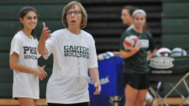 Canton girls volleyball head coach Pat Cawley instructs her team during practice on Tuesday, Sept. 10, 2019. Tom Gorman/For The Patriot Ledger