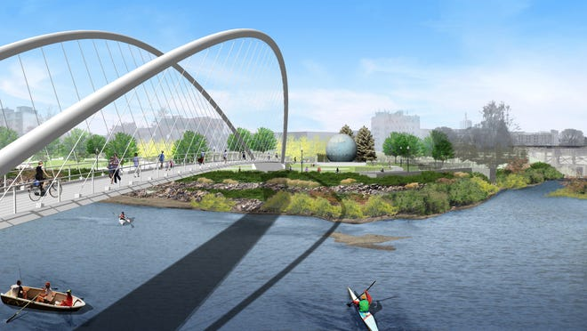 An artist's rendering shows the proposed Riverfront Park to Minto Island footbridge from the west side of the Willamette Slough. Courtesy of GreenWorks, P.C. An artists rendering shows the proposed Riverfront Park to Minto Island footbridge from the west side of the Willamette Slough.