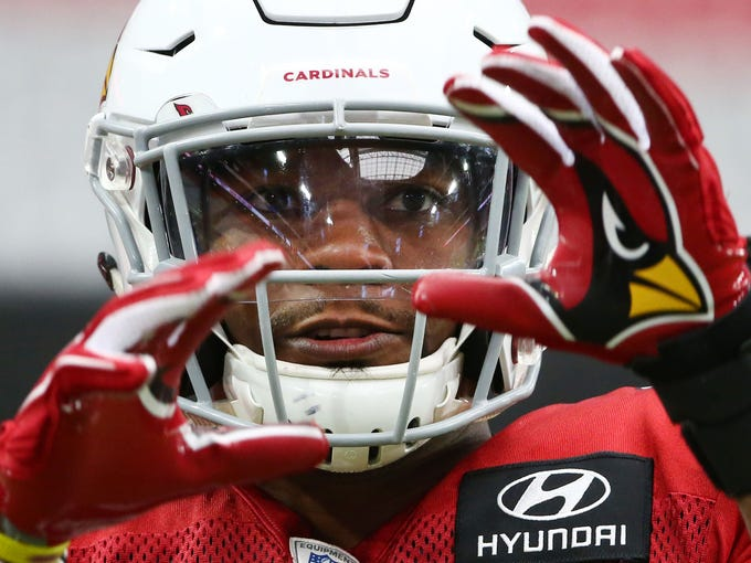 Arizona Cardinals running back David Johnson watches