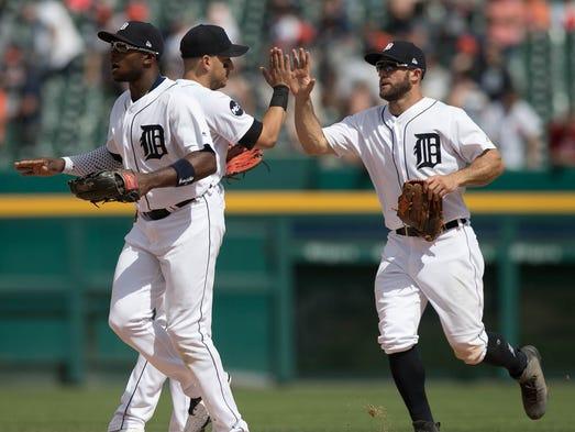 Tigers leftfielder Justin Upton, shortstop Jose Iglesias