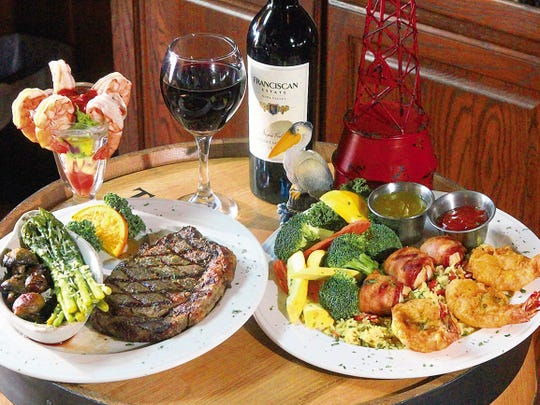 Pelican's Steak & Seafood Restaurant, 130 Shadow Mountain, offers a variety of delicious surf and turf options.