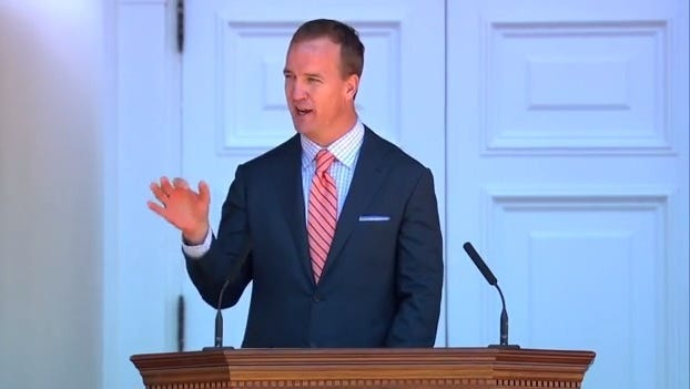 Former Colts quarterback Peyton Manning gave a valediction speech this weekend at the University of Virginia.