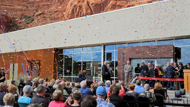 Confetti falls on dignitaries and spectators Friday afternoon as Tuacahn celebrates the opening of its new Arts Center in Ivins City.