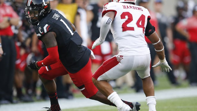 Cincinnati Bearcats wide receiver Kahlil Lewis (1) turns upfield after a catch in the fourth quarter during the college football game between the Miami RedHawks and the Cincinnati Bearcats , Saturday, Sept. 24, 2016, at Nippert Stadium in Cincinnati.