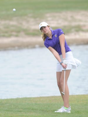 Wylie freshman Maddi Olson hits onto the green at  No. 12 during the second and final round of the Region I-4A girls golf tournament on Tuesday, April 25, 2017 at Shadow Hills Golf Course in Lubbock.