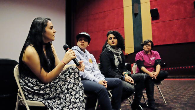 Last year's LatinX L.G.B.T.Q Film Festival panel participants, from left, Danny Montenegro, with mic, Genevieve Toribio, Vicky Osoria, and moderator Miranda Mossey.