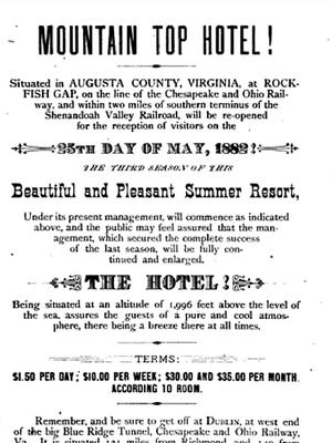 Flyer for the Mountain Top Hotel.