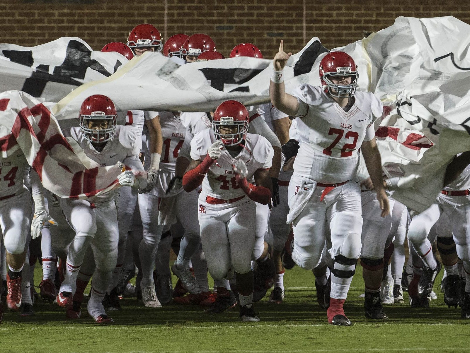 Brentwood Academy takes the field prior to last week's game at Ensworth.