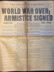 The Cincinnati Enquirer front page, Nov. 11, 1918,