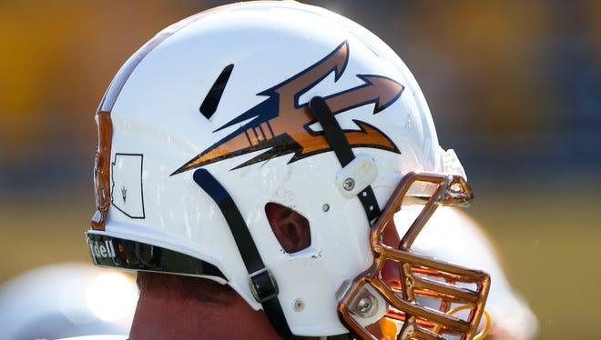 Arizona State's desert fuel helmet on Saturday, Nov. 8, 2014 at Sun Devil Stadium in Tempe, AZ.
